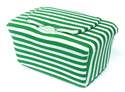 WipesWrap Stylish Baby Wipes Tub Cover (Green Stripes) - 1
