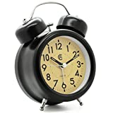 "JCC 3"" Black Retro Twin bell non ticking sweep second hand bedside alarm clock with Nightlight and Loud Alarm (Black)"