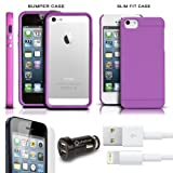 iPhone 5 Essentials Bundle Includes iPhone 5 Bumper Case + iPhone 5 Slim Fit Snap Case + 3ft. 8 Pin Lightning USB Data/Sync Charge Cable + USB Car Charger +3 Pack iPhone 5 Screen Protectors