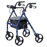 Hugo Mobility Portable Rollator Walker with Seat, Backrest and 8 Inch Wheels, Blue