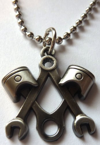 Piston Wrench Harley Motorcycle Mechanic Square Compass Masonic Pendant Necklace w/Ball Chain