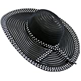 Black Wide Brim Polka Dot Ribbon & Mesh Braid Floppy Hat