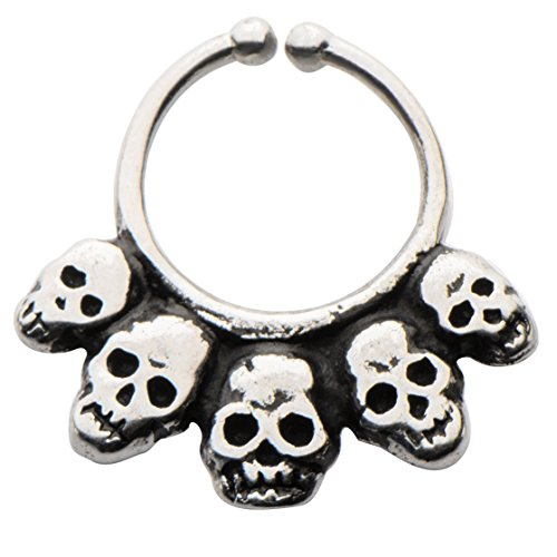 Casted White Italian Brass Faux Septum Nose Ring Clicker --FREE Gift Box w 132 (Italian Horn Bone compare prices)