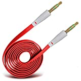 Onx3 (Red) High Quality 3.5mm Male To Male Jack Flat Cable AUX Auxiliary Audio Cable Lead For Blackberry Pearl 8120