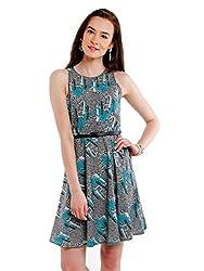 NUN Women's Crepe Skater Dress (NUNDR6090_Grey_Small)