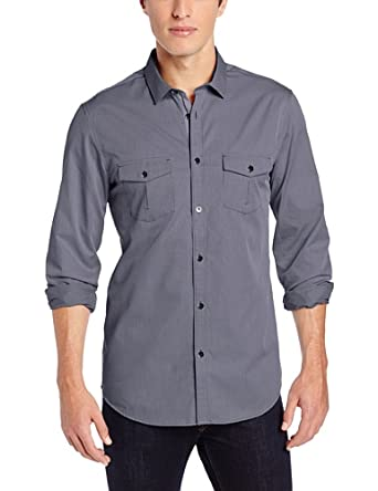 Calvin Klein Sportswear Men's Yarn Dye Engineered Check Shirt, Folkstone Gray, Small