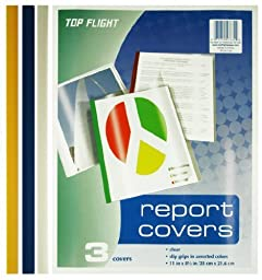 Top Flight Report Covers, Clear Plastic with Assorted Color Slip Grips, 3 Covers per Pack (4005068) by Top Flight