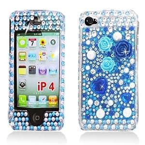 Aimo Wireless IPHONE4GPCDI041 Bling Brilliance Premium Grade Diamond Case for iPhone 4 - Blue Flowers