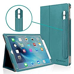 iPad Pro 9.7 Case, [Corner Protection], Casecrown Bold Standby Pro (Arctic / Teal) Case w/ Apple Pencil Holder - Black, Sleep / Wake, Hand Grip, & Multi-Angle Viewing Stand