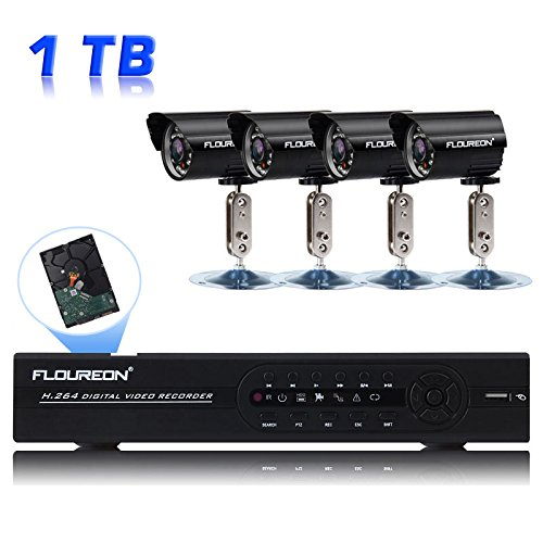 Floureon SET 8 Kanal CCTV DVR +4 Außen wasserdichte Nachtsicht Sicherheitskamera Überwachungskamera System mit eingebauten 1T Professionelle Überwachungs-Hard-Disk DE