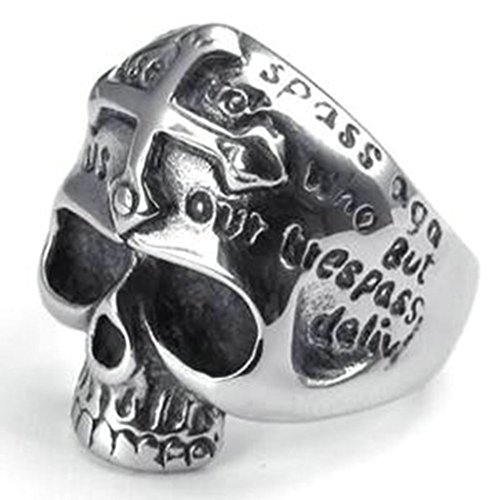 Stainless Steel Ring for Men, Dead Head Ring Gothic Black Band Silver Band 26MM Size 12 Epinki
