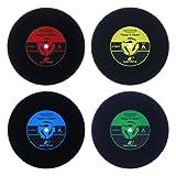 WOLFTEETH 4 x Vinyl Retro Runden Schallplatten Untersetzer Getrank -
