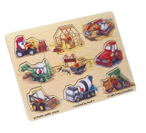 Cheap Toys Wooden Construction 9-piece Peg Puzzle (B00004NKKL)