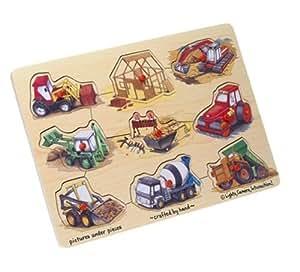 Wooden Construction 9-piece Peg Puzzle