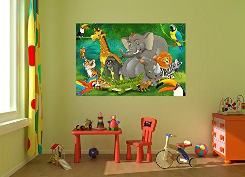 Animali della giungla fotomurale giungla con animali for Tappezzeria bambini