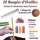 20 Bougies d'oreilles coniques senteur à choisir
