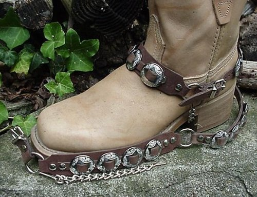 """Western Boots Boot Chains """"The Concho Honcho"""" Brown Leather, 8 Conchos"""