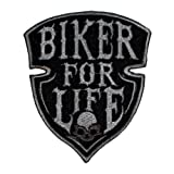 """Biker For Life"" Patch Sticker Logo Applique Insigne à coudre Rocker Biker 8,0 cm / 6,0 cm"