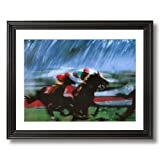 Horse Racing Grass Turf Jockey Animal Home Decor Wall Picture Black Framed Art Print