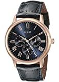GUESS Men's U0496G4 Vintage Iconic Rose Gold-Tone and Navy Dial Watch