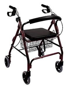 Ultra lightweight folding rollator wheeled walking frame with seat, basket and locking brakes