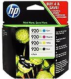 HP 920XL Four Pack Black & Colors Ink Cartridge Set -Black/Yellow/Cyan/Magenta