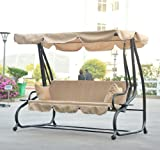 Outsunny Covered Outdoor Porch Swing / Bed w/ Frame - Sand