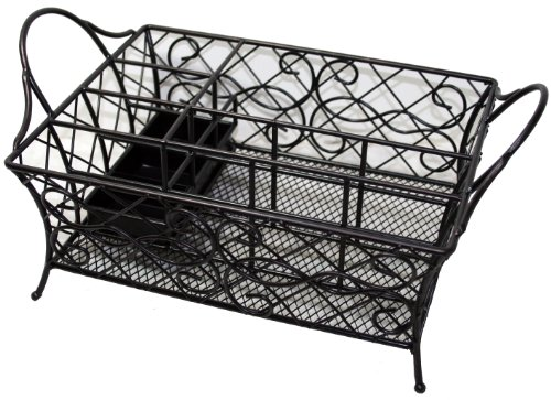 Chatham wrought iron picnic caddy holds napkins flatware and napkins outdoor kitchens patio - Wrought iron flatware ...