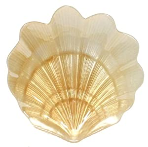"Glass Scallop Shell Amber Large Plate - 14""D"