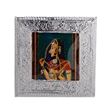 MJR Digital Print Carved White Metal Decorative Dry Fruits Box- Bani Thani - 8 x 8 inches.