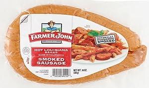 Farmer John Hot Louisiana Smoked Sausage Rope 14 Oz. (Pack of 4) by Farmer John