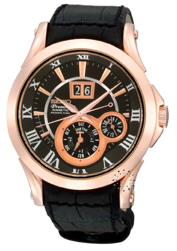 Seiko Men'S Snp036P1 Leather Synthetic Analog With Black Dial Watch