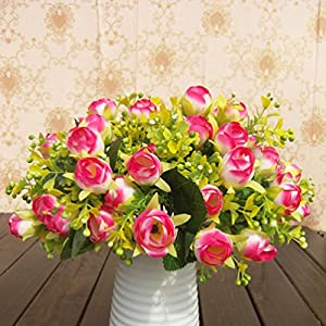 Bridal Wedding Bouquet Latex Silk Flower Bouquets 10pcs Hot Pink Lot