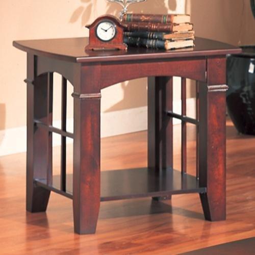 Image of Coaster Abernathy Dark Cherry End Table with Shelf (B007TY37UA)