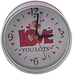 Archies Plastic Can Clock Love U Lot Table Watch (9 cm x 5 cm x 9 cm, Red)