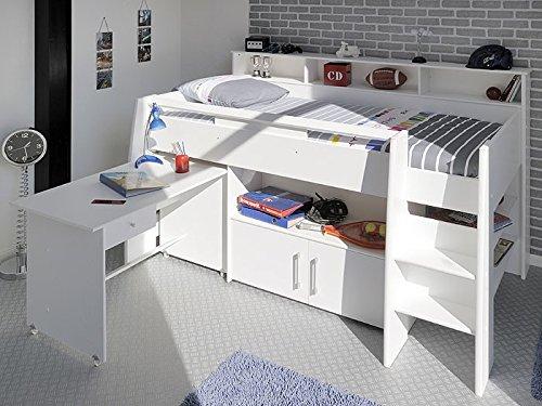 Hochbett, Kinderbett Sway 1A, 211x132x130cm weiß Kinderzimmer Bett Schreibtisch bestellen