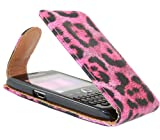 ITALKonline BlackBerry 9360 Curve PINK BLACK LEOPARD Easy Clip On Vertical Flip Wallet Pouch Case Cover with Holder
