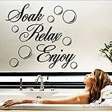 Soak Relax Enjoy PVC Wall Sticker Decal Home bathroom Background Decor Removable (1, WHITE)