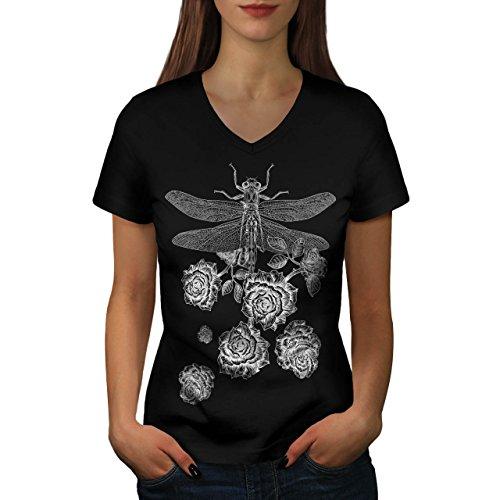 libelle-bluhen-insekt-blume-damen-neu-schwarz-xl-t-shirt-wellcoda