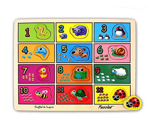 Puzzled Raised Puzzle, Counting to Twelve with Animals