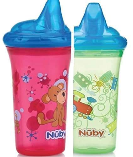 Nuby 2 Pack Printed Non Spill Cup with Hard Top, Green Red (9 Ounce),