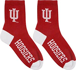 Indiana Hoosiers Team Color Quarter Socks by For Bare Feet