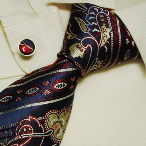 Navy Paisleys Tie for Men Red Pattern Boyfriend Gift Italian Style Silk Neck Ties Set A1146