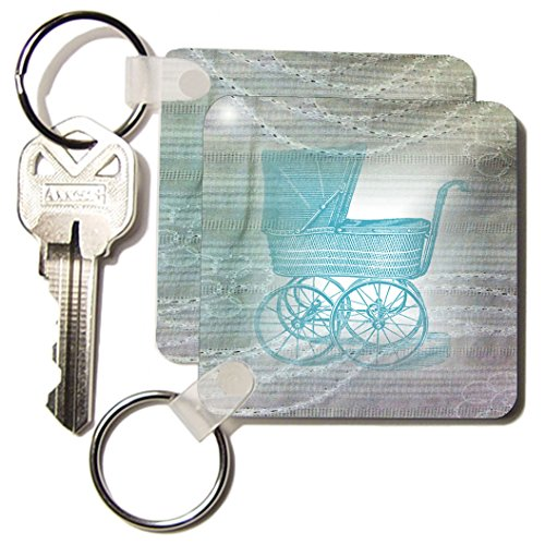 Kc_174622_1 Florene - Victorian - Image Of Aqua Buggy On Lace - Key Chains - Set Of 2 Key Chains front-1022026