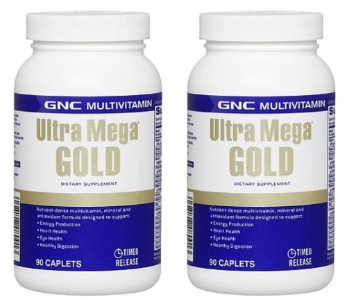 Gnc Ultra Mega Gold 90Cap Single & Double Packs (Two Bottles Each Of 90 Caplets)
