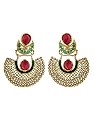 The Jewelbox Gold Plated Pearl Red Green Chaand Bali Earring