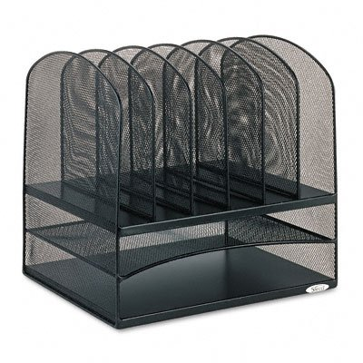 Buy Mesh desk organizer, two horizontal/six upright sections, black