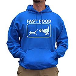 Nutees Fast Food Dog Chasing Cat Funny Unisex Hoodie - Royal Blue