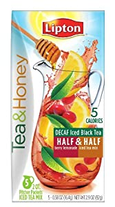 Lipton Tea and Honey Pitcher Packets, Decaf Iced Black Tea Half and Half Berry Lemonade, 5 Count