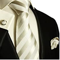 Paul Malone Extra Long Silk Necktie, Pocket Square and Cufflinks White